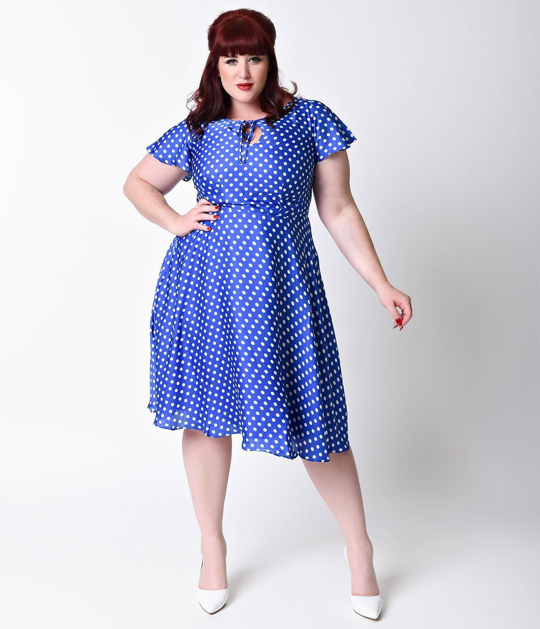 Plus Size 1940s Style Royal Blue & White Dot Formosa Swing