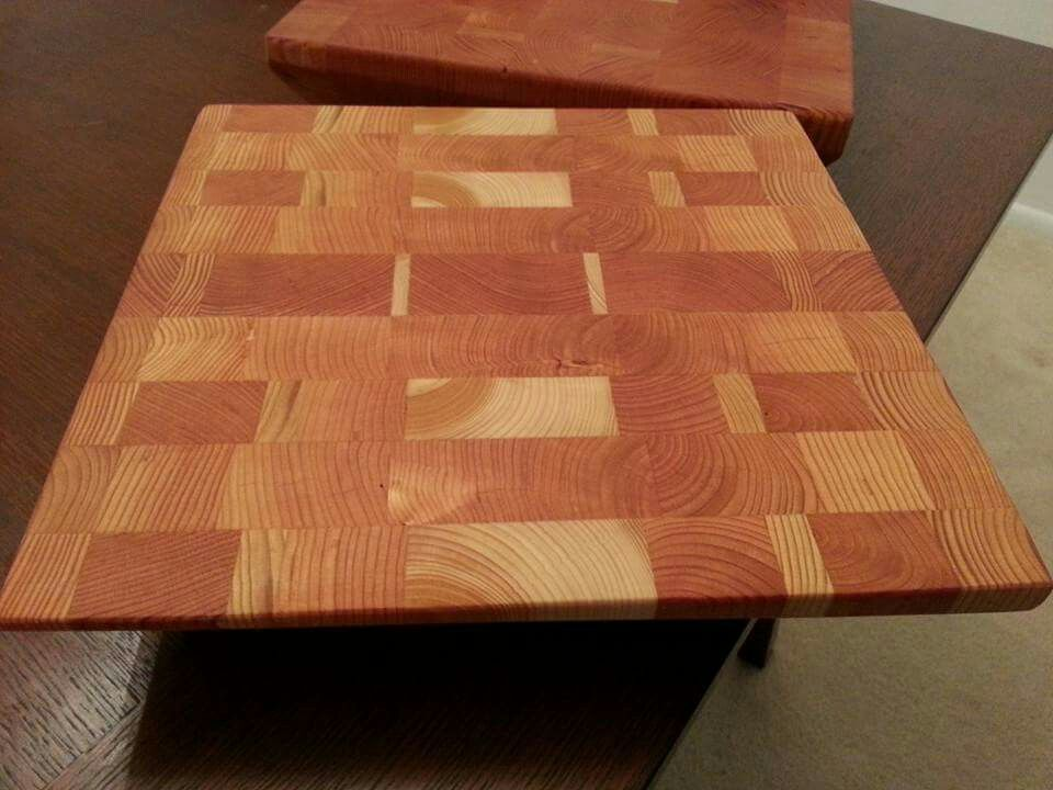 End grain cutting boards from some left over scrap 2X Douglas Fir