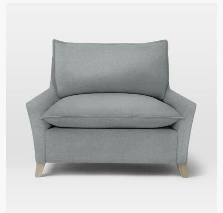 west elm chair a half linen weave dusty blue living room pinterest dusty blue chairs. Black Bedroom Furniture Sets. Home Design Ideas