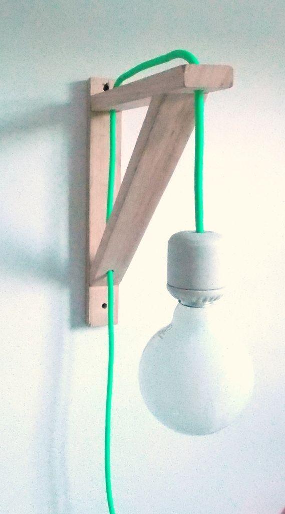 lmpara pared con mnsula triangular cable flo hausdeko