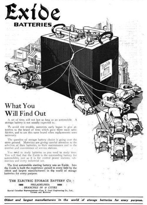 1920 Exide Battery Advertisement The Exide Battery Built By The Electric Storage Battery Co Claimed The Fi Battery Storage Automobile Companies Batteries Diy