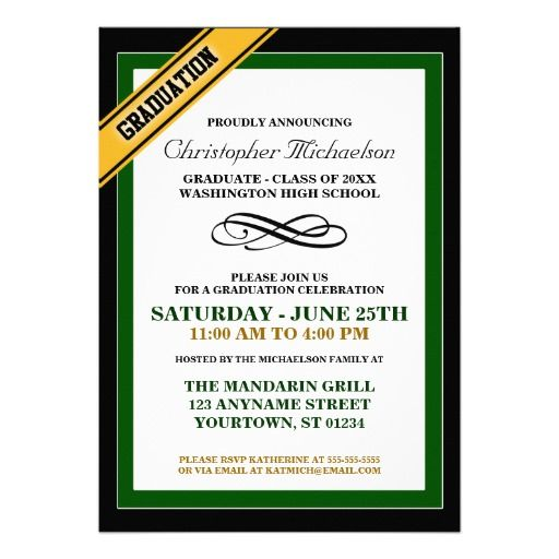 Green Yellow Formal Graduation Announcements - formal graduation announcements