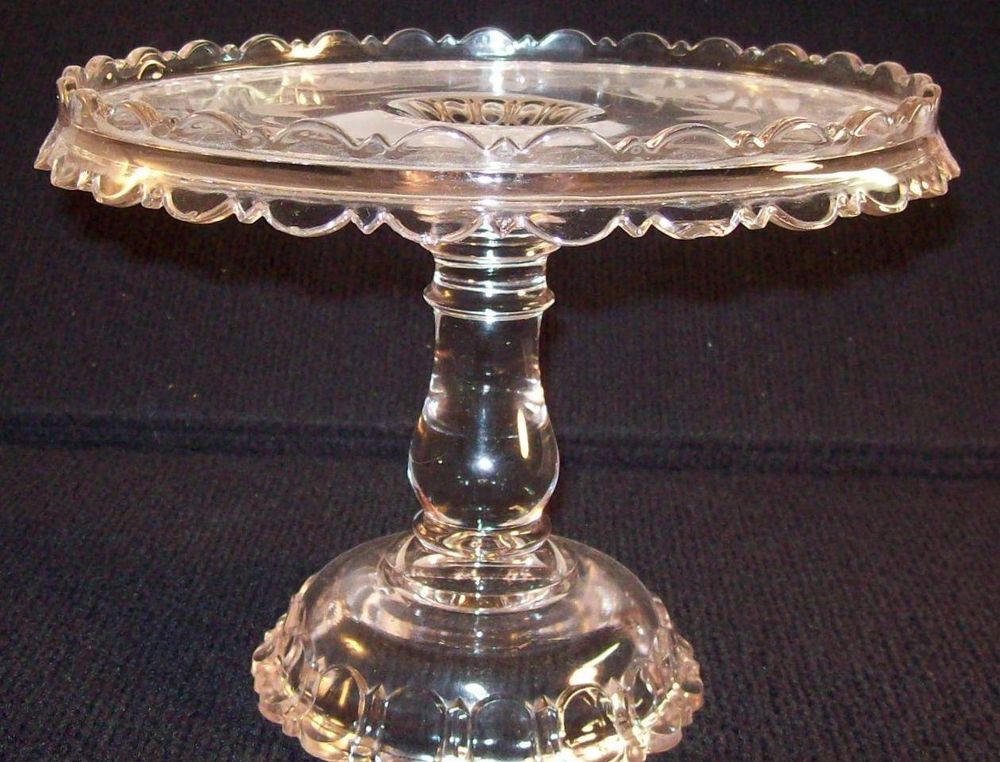 Cake stand tort glass vintage antique adams etched apollo