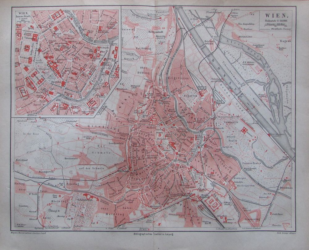 Wien 1878 Historischer Stadtplan Landkarte Karte Lithographie City