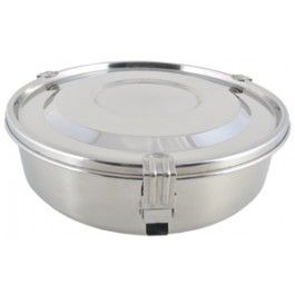 A fantastic high quality stainless steel lunch and take-out container with removable dividers and lid with a silicone seal - airtight and watertight!