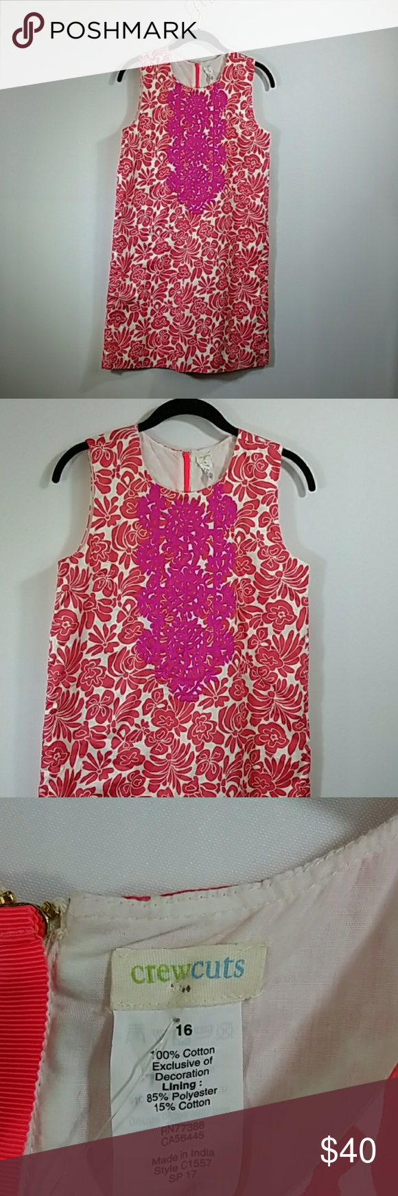 Nwt crewcuts womanus floral pink u purple dress nwt crewcuts womanus