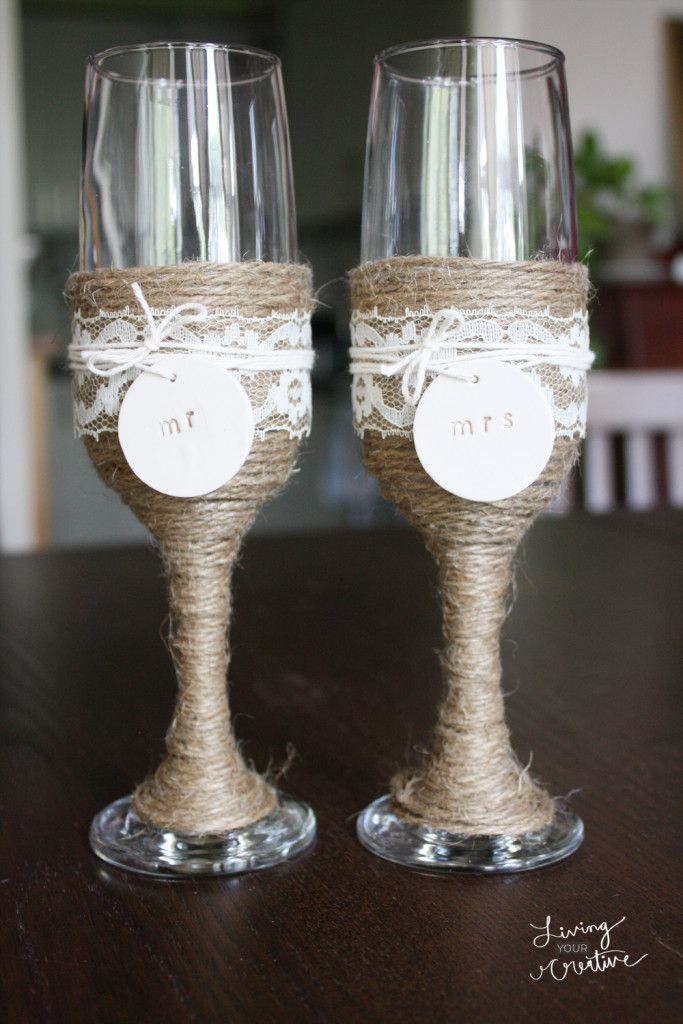 Make these diy rustic wedding champagne flutes with this for Do it yourself wine glasses