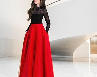 Maxi tulle skirt with pockets, tulle skirt, red skirt, red maxi ...