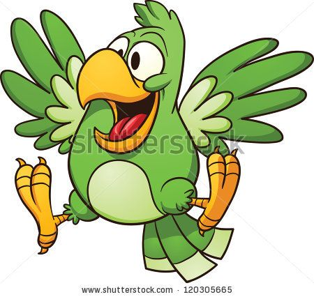 cartoon parrot vector clip art illustration with simple gradients