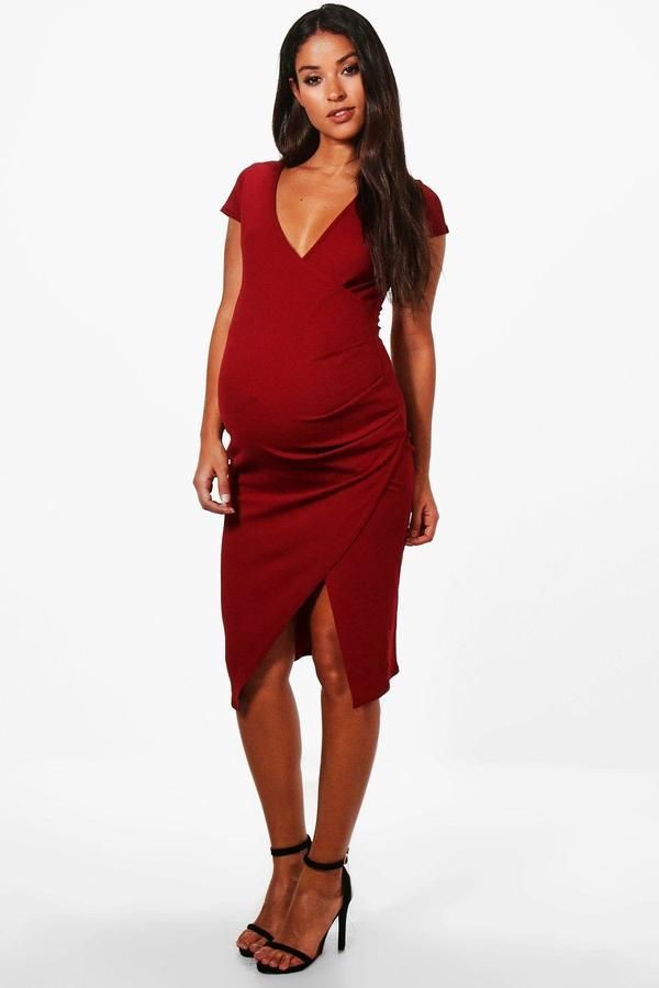 4c9f9baf23e0 Maternity Cap Sleeve Wrap Midi Dress | Products | Dresses, Maternity ...
