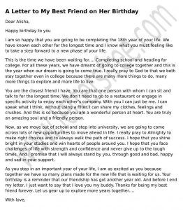 Beautiful Formal Letter To Your Best Friend On Her Birthday To