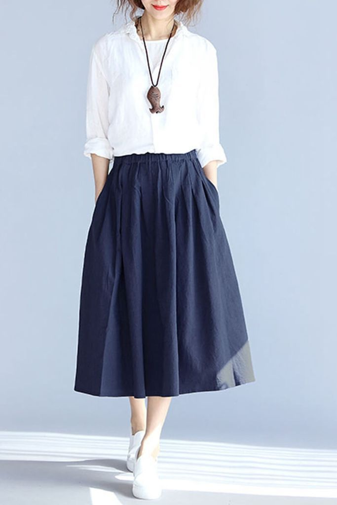 a849cff059c Plus Size Vintage Cotton Linen Skirts Women Clothes