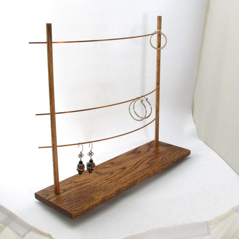 The Triple Bar Earring Display Holder Jewelry Copper Wood Metal Booth Tree Fashion Accessories