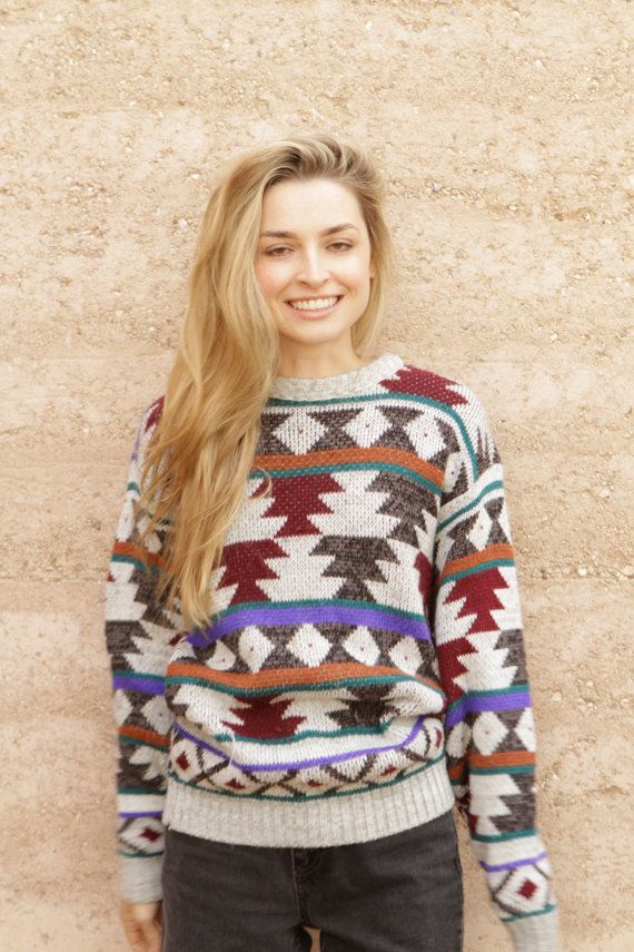 SOUTHWEST 90s bright IKAT style navajo SWEATER by ZiaVintage, $45.00