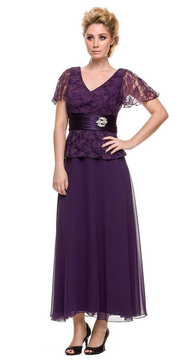 40804e01146 Plus Size Peplum Mother of Groom Dress Plum V Neck Ankle Length in ...