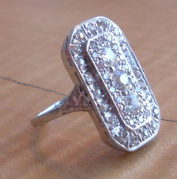 Early 1900 S Diamond Engagement Ring 14k White Gold Cer Band Dinner Tail