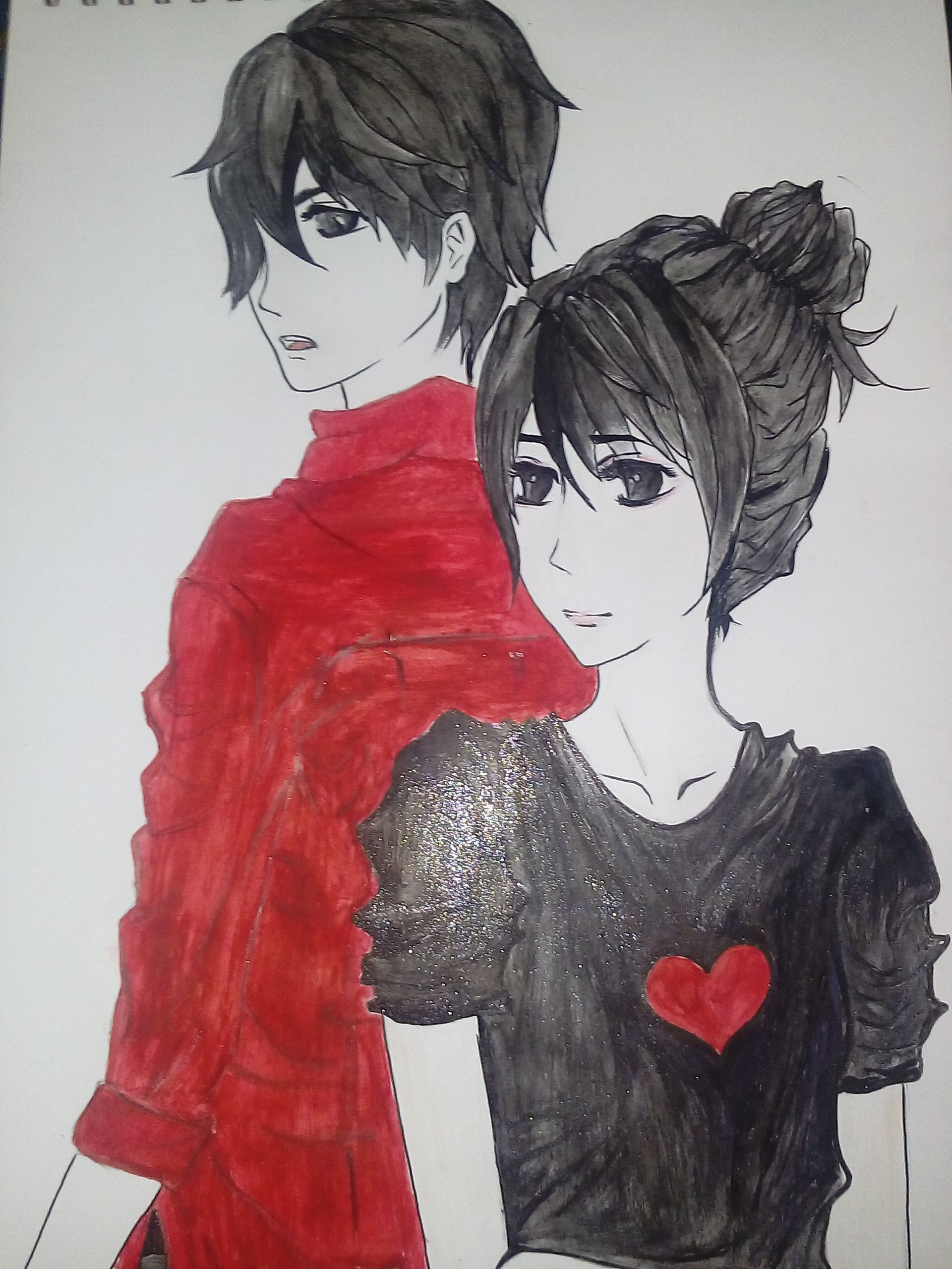 Awesome cute anime couple colored drawing