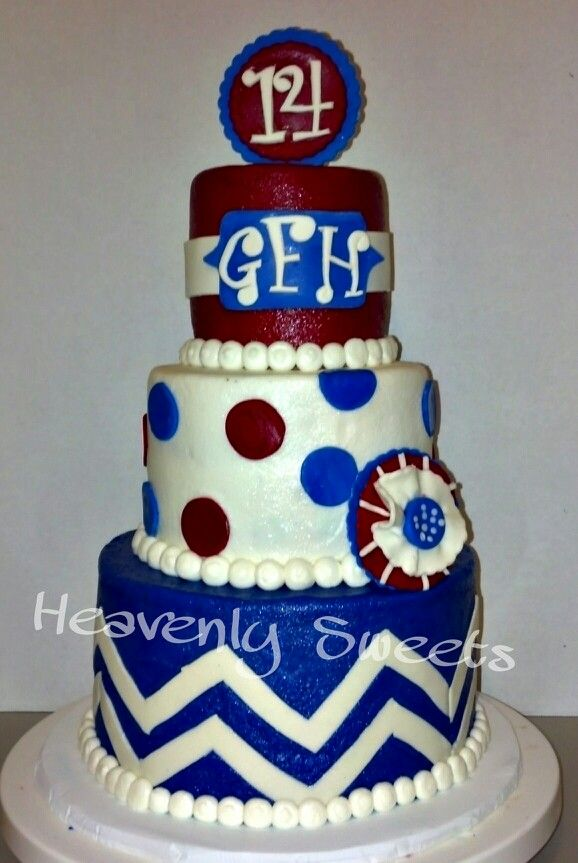 By Heavenly Sweets Red white blue chevron polka dots birthday