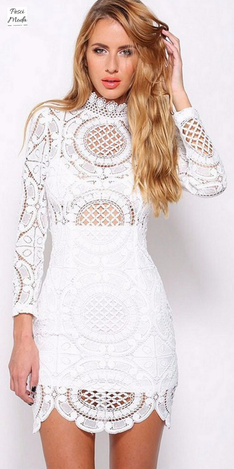 Long Sleeve White Lace Floral Embroidery White Party Wear Dress With   FreeShipping. Shop Online Today.  MidiDresses  DressesForWomen   PartyDresses ... db97e5e4e