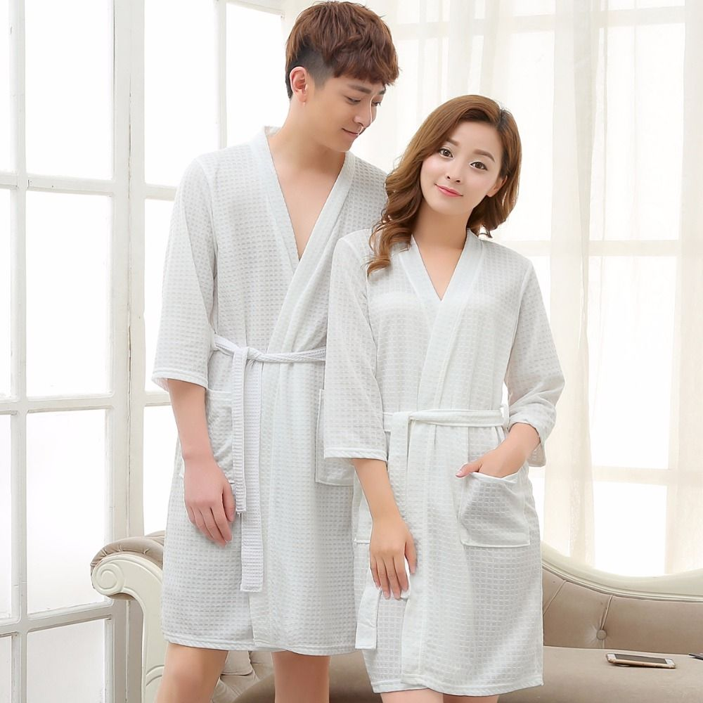 Lovers Towel Bathrobe Men Women Kimono Waffle Bath Robe Male Sleepwear Mens  Dressing Gown Badjas Man Wedding Bridesmaid Robes beec8d959