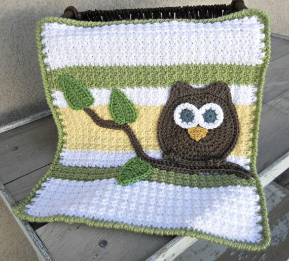 Owl Baby Blanket Lovey Size Green Yellow Baby Shower Gift Gender