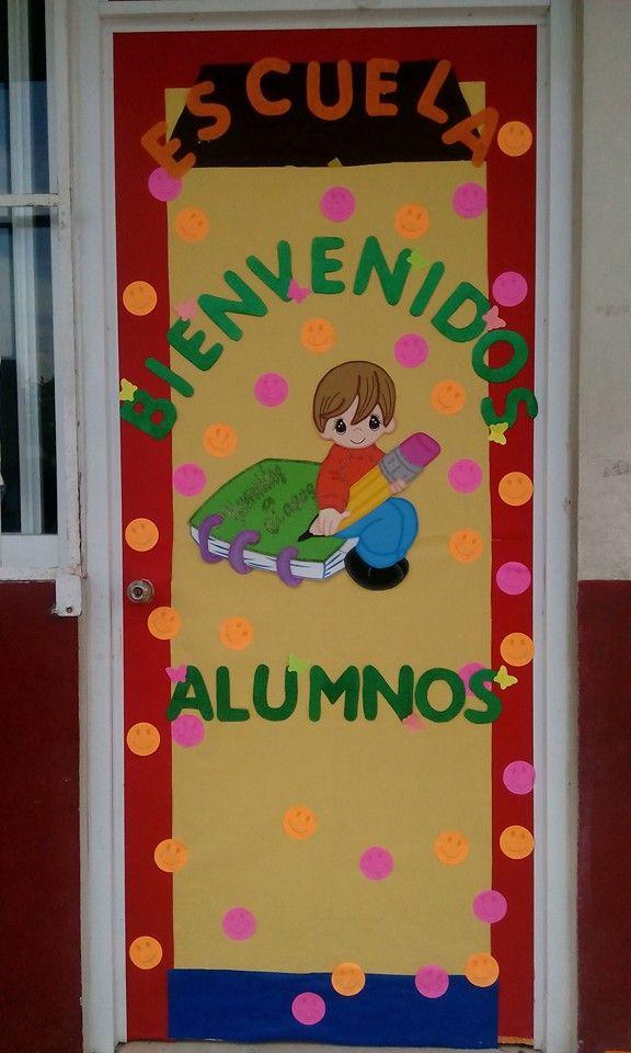 Bienvenidos a la escuela puerta decorada puertas for Ideas puertas salon