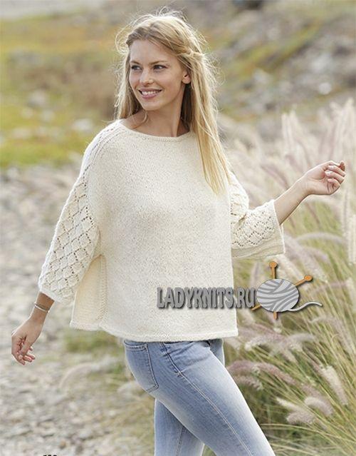 красивый женский джемпер с ажуром на рукавах и плечах вязание
