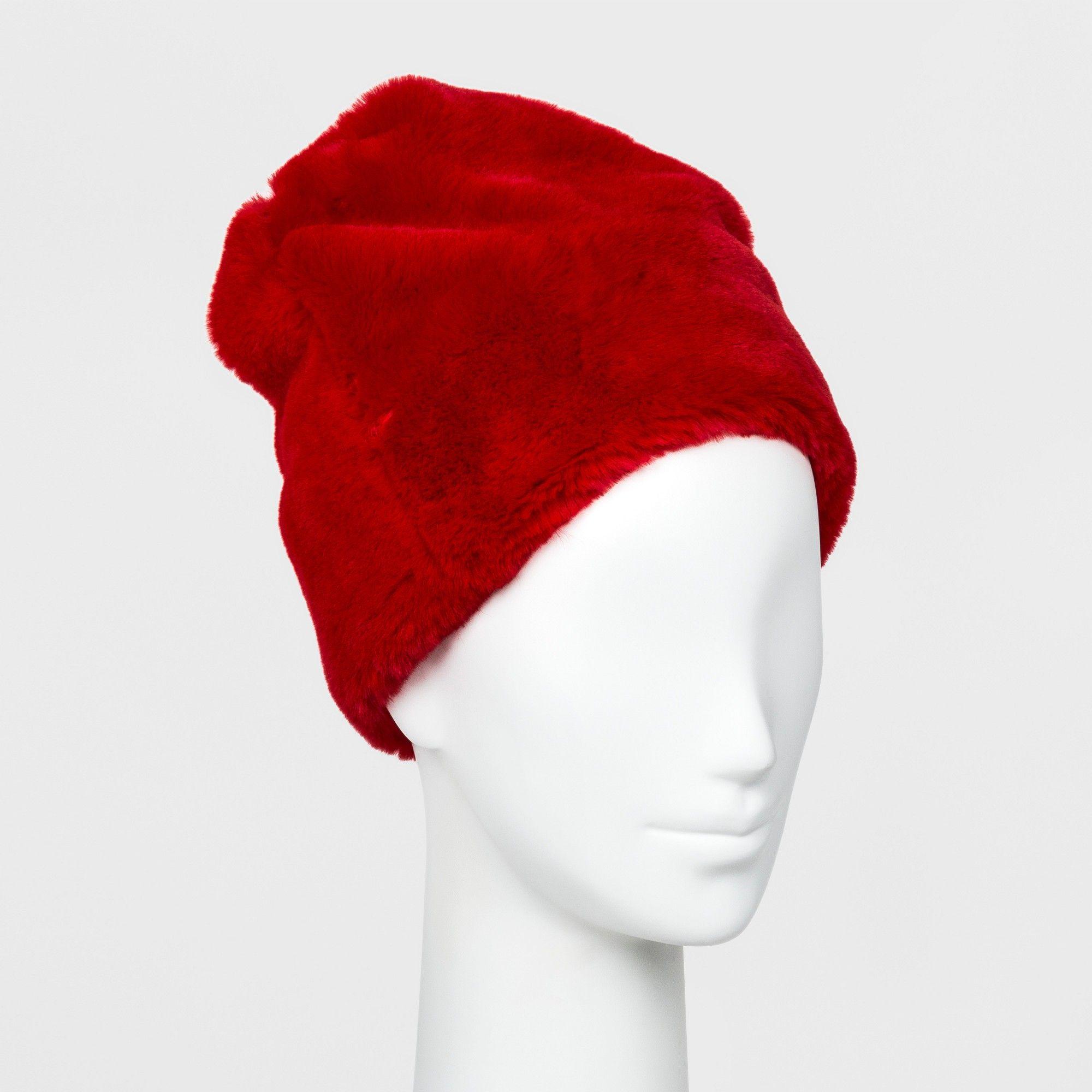 43fa479ddd28 Women s Faux Fur Beanie - Wild Fable Red