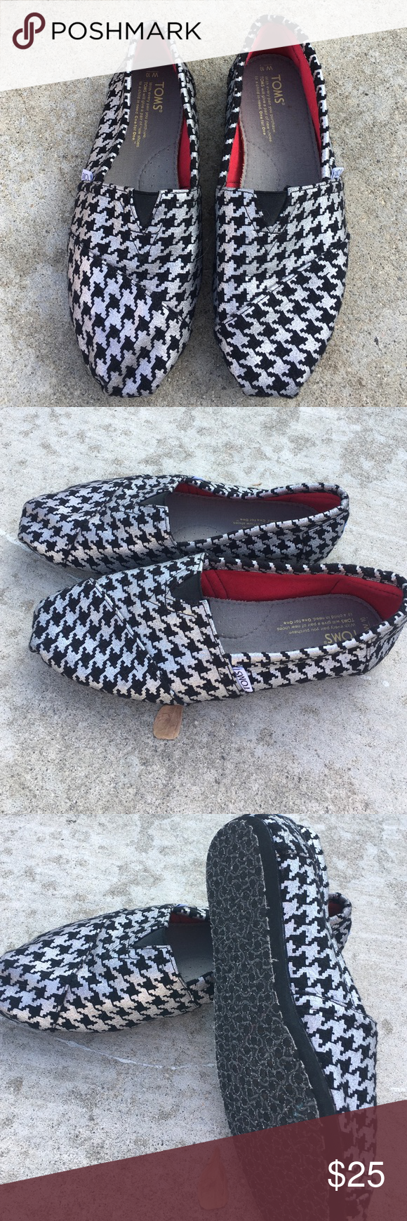 Toms Metallic silver with black. Size W10 TOMS Shoes Flats & Loafers