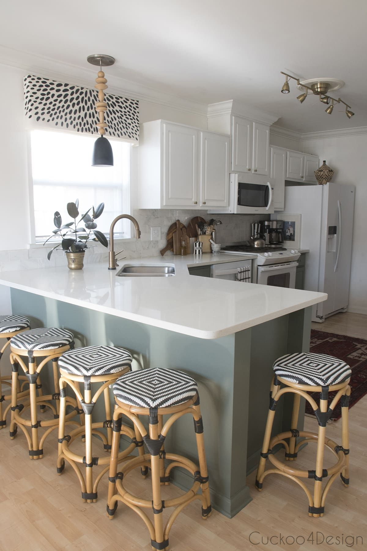 Turning My White Laminate Builder Grade Kitchen Into A Green And White Two Toned Kitchen Cuckoo4design Interior Design Kitchen Painting Kitchen Cabinets White Trendy Kitchen
