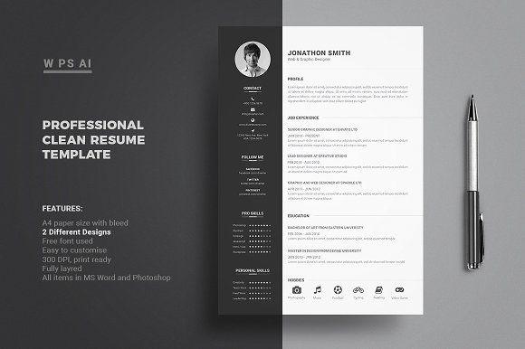 Resume Cv Clean Resume Template Resume Cv Resume Template