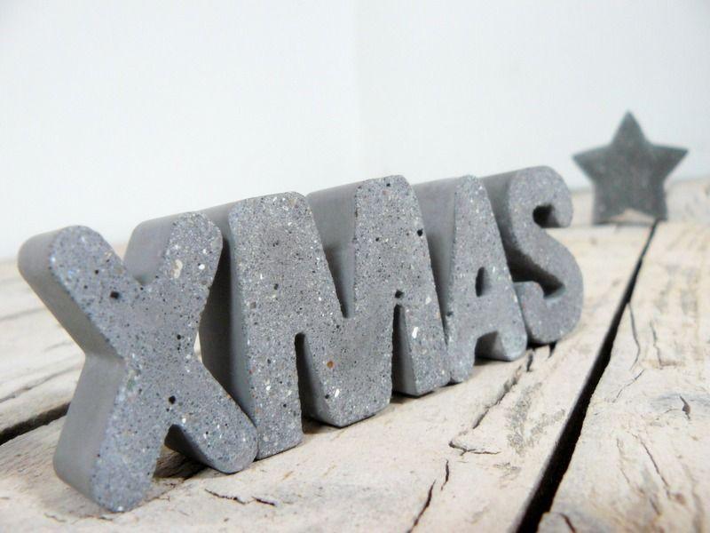 weihnachtsdeko 4 beton buchstaben xmas ein designerst ck von betongedoens bei dawanda. Black Bedroom Furniture Sets. Home Design Ideas