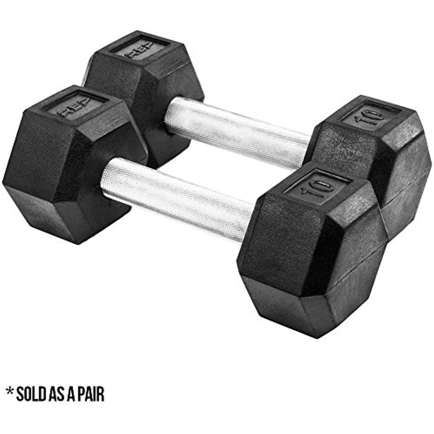 Rep Rubber Hex Dumbbells, Superior Quality with Low Odor