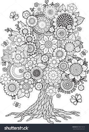 Blossom Tree Vector Elements Coloring Book For Adult Doodles Meditation