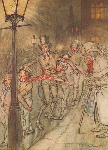 Dec. 19th Dickens' A Christmas Carol first published this day in 1843. Today's advent image by Arthur Rackham from his 1915 version. https://www.jonkers.co.uk/products/detail/productid/5309