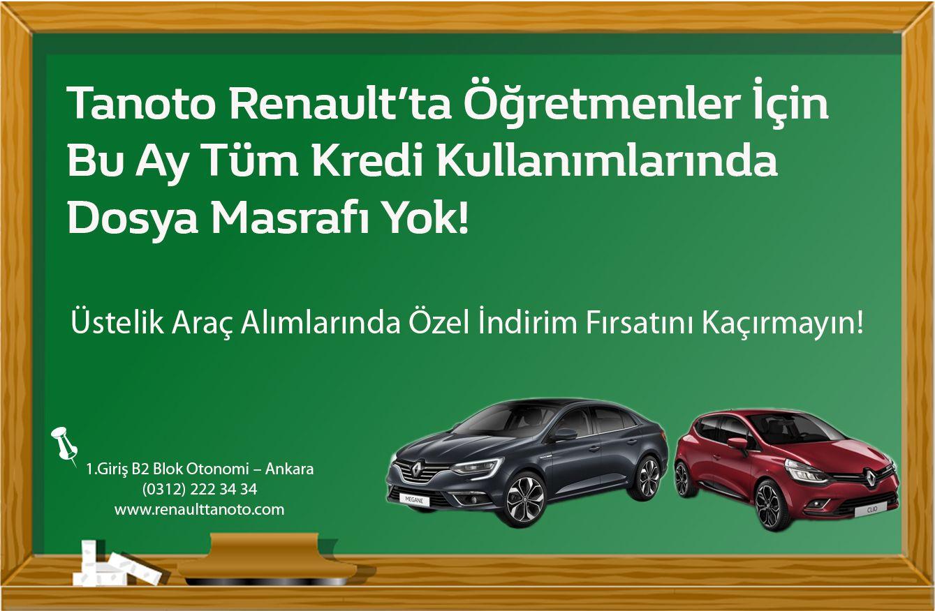 Tanoto Renault'ta Öğretmenler İçin  Bu Ay Tüm Kredi Kullanımlarında  Dosya Masrafı Yok! Üstelik Araç Alımlarında Özel İndirim Fırsatını Kaçırmayın!  0312 222 34 34 ➡️ www.renaulttanoto.com #Renault #öğretmenlergünü #kampanya #öğretmenleriçin #tanoto #tanotorenault #tanotoankara #renaultyetkilibayi