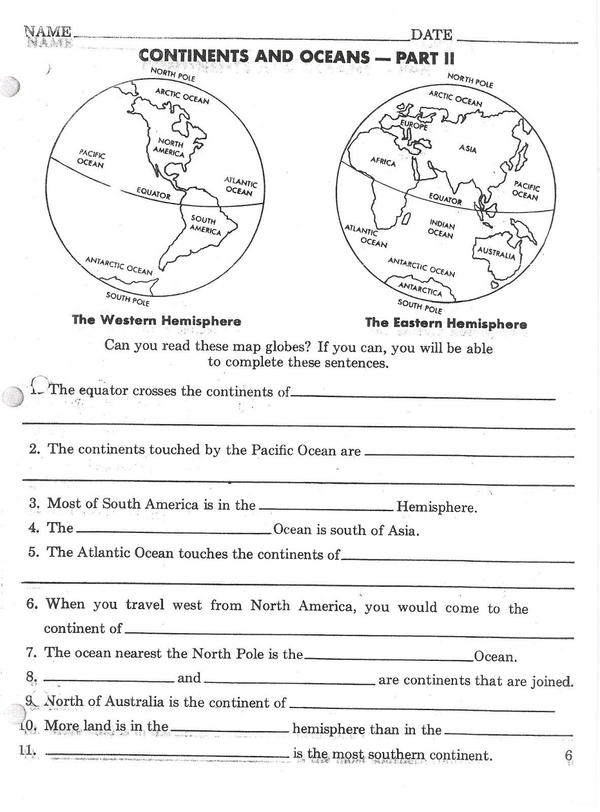 Continents And Oceans Worksheet Printable Continents And Oceans Printable Worksheets Super Teacher Worksheets