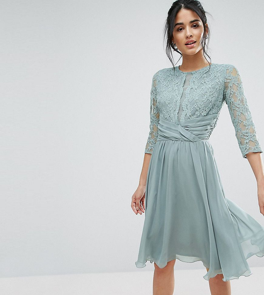 Elise ryan ruched waist lace midi dress green cocktail