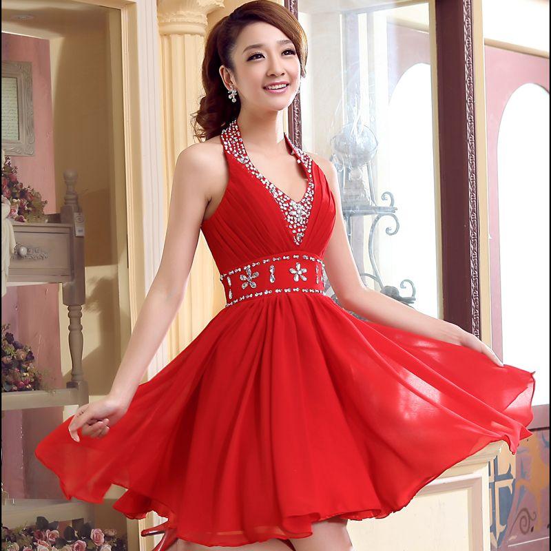 Yarn halter-neck chiffon evening dress short formal dress married bridesmaid dress skirt short design evening dress $37.24