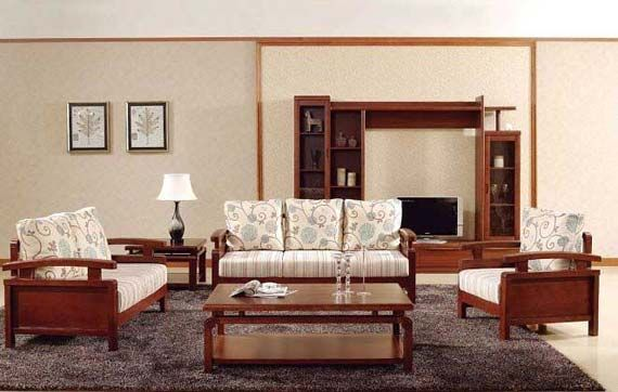 Awesome Wooden Sofa And Furniture Set Designs For Small Living Room With Dark Carpet