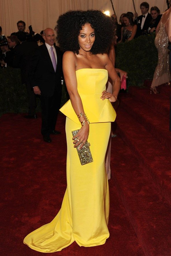 Celebrity Style | yellow peplum evening gown | red carpet | cut-out neckline | strapless evening dress | solange knowles | beauty @monstylepin