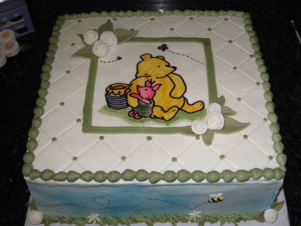 Classic Winnie The Pooh Baby Shower Cake   Buttercream With Fondant Ribbon  Roses And Leaves.