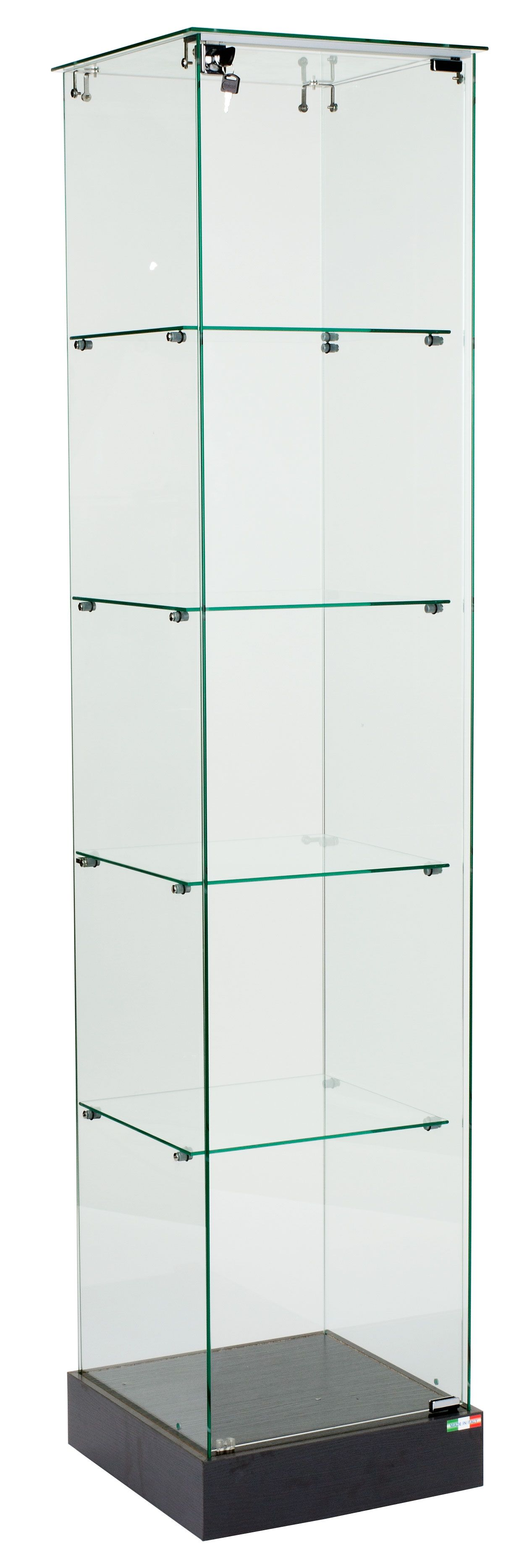 "15"" Glass Display Case W/Hinged Door, 4 Fixed-Height"