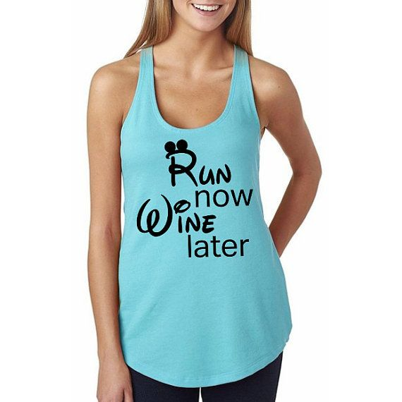 Run Now Wine Later // Disney Marathon Shirt // Disney Running Tank // Mickey Shirt // Disney Running Shirt // Disney // Marathon Clothing
