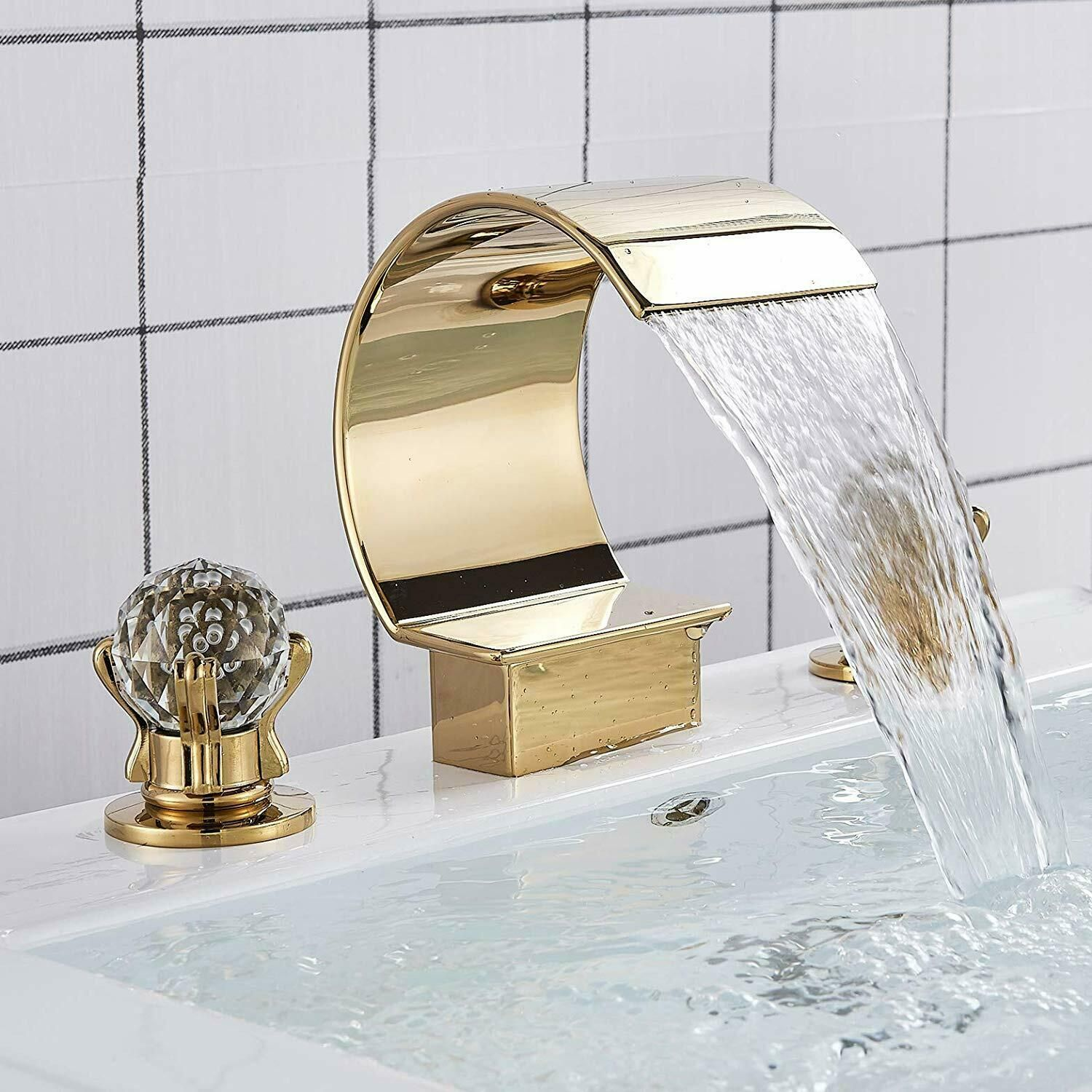 Gold Bathroom Waterfall Spout Basin Faucet 2 Crystal Handle Tub Filler Mixer Tap Bathroom Faucets Ideas Of Tub Filler Faucet Single Handle Bathroom Faucet