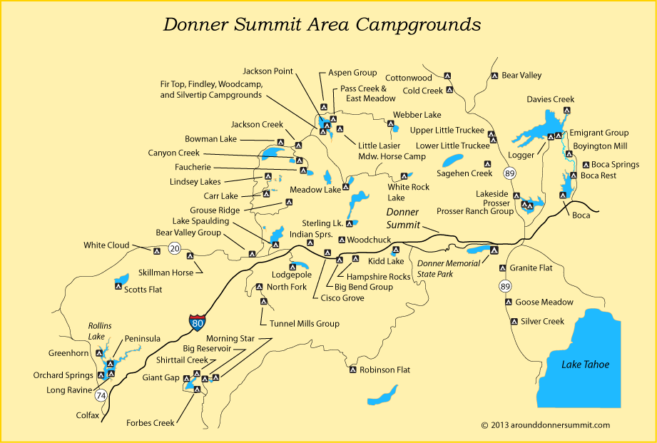 map of campgrounds around Donner Summit CA A Camping We Will Go