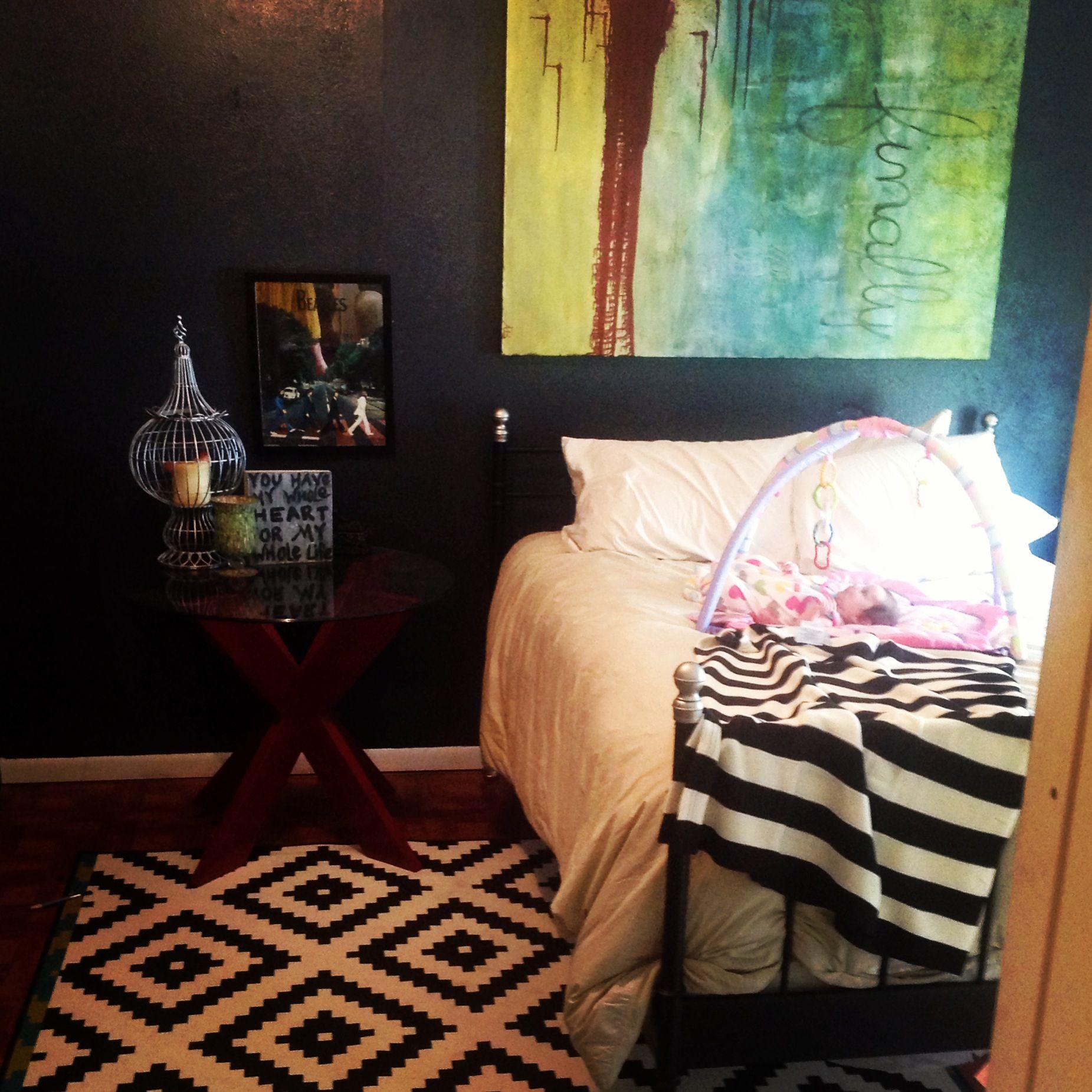 Eclectic bedroom black and white bedroom ikea lappljung Ruta rug