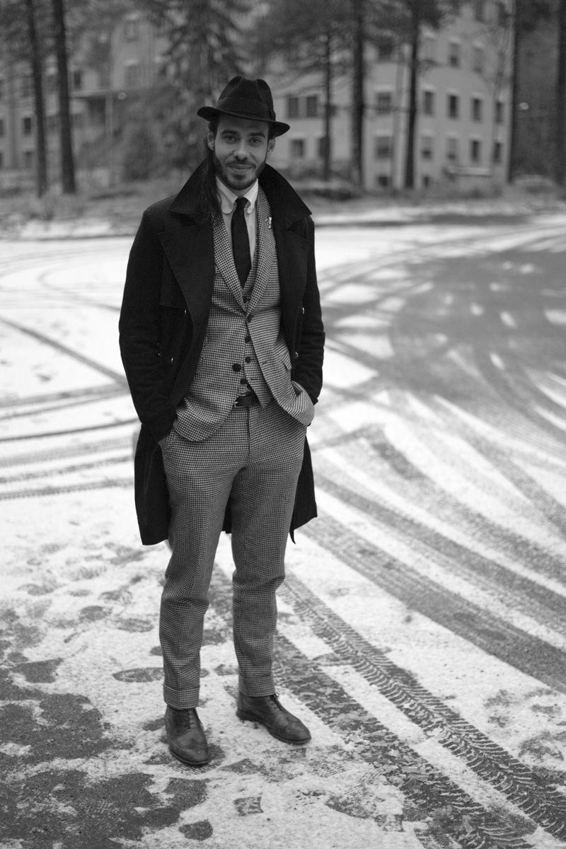 Three Piece Hat Coat Lookbook Suit Snow Mens Fashion Pinterest Palomino Danesh Handbag Grey