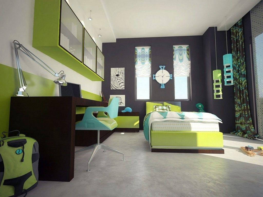 kids room: hip modern teen boy space with large richly dark brown
