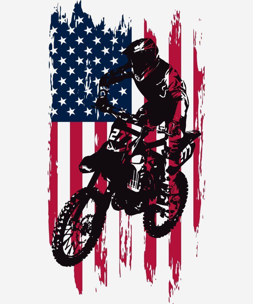 Vintage Dirt Bike Motocross Usa American Flag T Shirt Zazzle Com In 2020 American Flag Tshirt Dirt Bike Shirts Dirt Bike Tattoo
